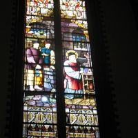 Window picturing the martyr Franciscus Clet in the chapel.